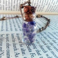Amethyst Necklace - Amethyst Crystal - Purple Jewelry - Vial Necklace - Bohemian Jewelry - Hippie - Wiccan Necklace - Miniature Bottle