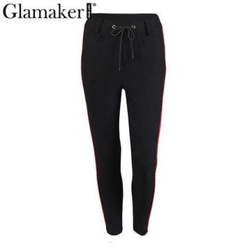 DCCKON3 glamaker side stripe high waist pants capris Women drawstring sweatpants bottom female streetwear casaul pants trousers