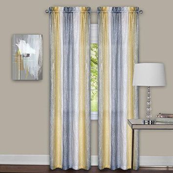 Ben&Jonah Collection Sombre Window Curtain Panel Pair 40x84 - Grey / Yellow