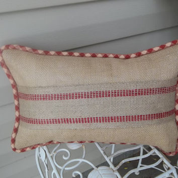 "11"" X 17"" Country French Burlap Pillow with Red Webbing, decorative pillow, rustic pillow, couch pillow"