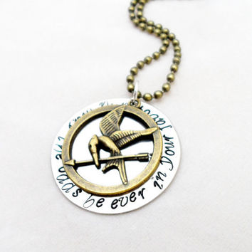 HAND STAMPED JEWELRY -  Hunger Games Quote, May the Odds Be Ever In Your Favor, Movie Quotes, Book Quotes