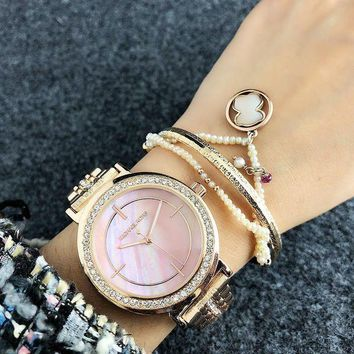 DCCKNQ2 Michael Kors MK Women Diamonds Fashion Quartz Movement Simple Wristwatch Watch