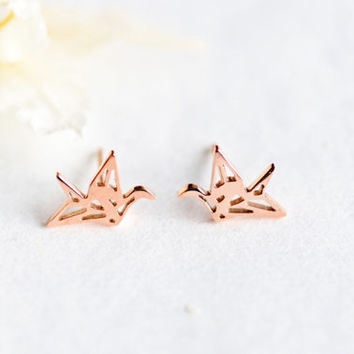 origami crane stud earrings - rose gold titanium
