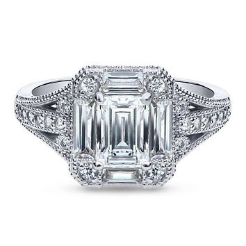 A Perfect 1.1CT Emerald Cut Russian Lab Diamond Engagement Ring