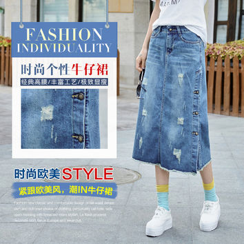 New Plus Size Breasted Relaxed Casual Denim Jeans Skirts Long  Maxi Female Spring Summer For Womens Skirt faldas mujer 2016