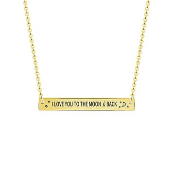 I LOVE YOU TO THE MOON AND BACK Necklaces Simple Bar Pendant Promise Jewelry 2017 Collier Femme Choker Honeymoon Gifts Rose Gold