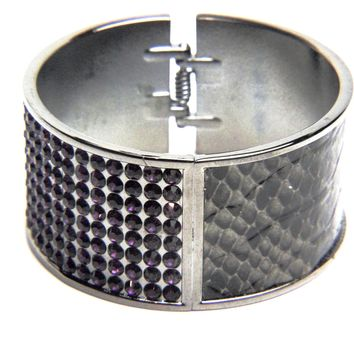 Gunmetal and Crystal Snake Skin Bangle Bracelet