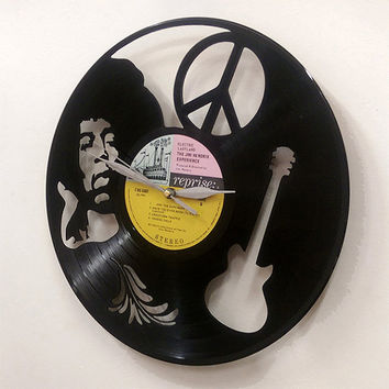 Jimi Hendrix Guitar Art -Vinyl LP Record Clock or Framed -Great Rock'n'Roll Gift