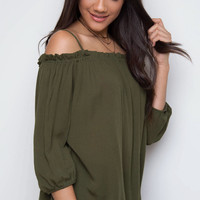Elvia Off The Shoulder Top - Olive