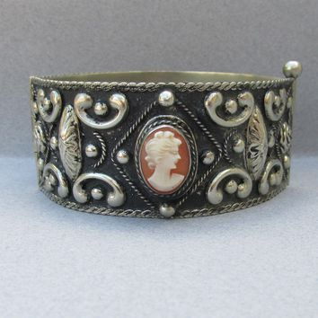 Italian Vintage Carved Shell CAMEO Wide Alpaca Cuff Bracelet