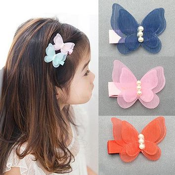 Hot Kids Girls Hair Clips Hair Pin Chiffon Pearl 3D Butterfly Princess Kids Children Hair Accessories