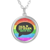I'm In Lesbian With You Valentine's LGBT Pride Round Pendant Necklace