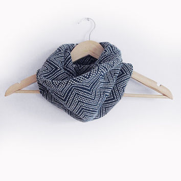 Knitted round scarf, alpaca cowl for women, blue and grey womens scarf