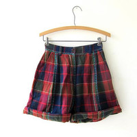 80s plaid flannel shorts. high waisted shorts. preppy and pleated.