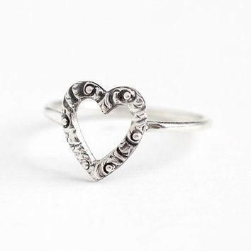 antique victorian sterling silver heart stick pin conversion ring 1900s size 5 1 2 d