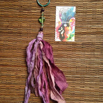 Gemstone Soft Goddess Keychain with Handmade Bohemian Silk Tassel