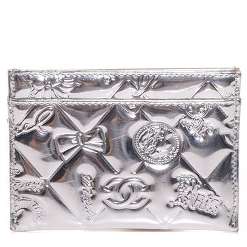 CHANEL Patent Calfskin Lucky Symbols Card Holder Case Silver