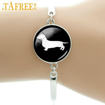 TAFREE Brand Glass cabochon dome dog silhouette bracelets supernatural hound romantic dachshund dog liker jewelry T354