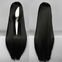 Outop Black Long Straight Anime Supia-Yisol Cosplay Wigs 80cm