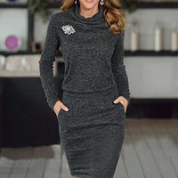 Autumn Winter Women Lady Designed Comfortable One-piece Dress Girls Female Casual Charming  GIFT 20 Free Shipping