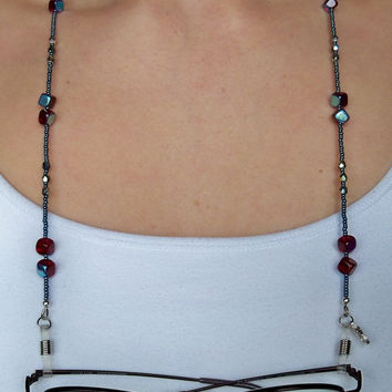 Eyeglass Cord  Eyeglass Chain  Ruby and Blue Eyeglass Leash  Beaded Eyeglass Cord  Ruby Red & Blue Necklace  Ruby Red and Blue Eyeglass Cord