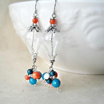 White Hot Air Balloon Earrings with Teal Agate, Coral and Pearls Wire Wrapped Handmade Jewelry. Unique Birthday Gift. Glass Earrings. HAB9