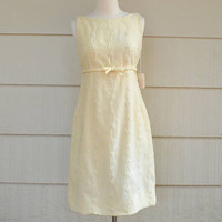 Vintage Lanz Dress, Cream Wool Sheath Dress, Embroidered Floral Vine Design, NOS, With Tags, Jr Size 13, 1960s