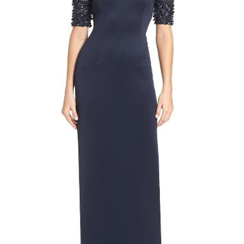 Adrianna Papell Embellished Sleeve Gown   Nordstrom