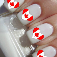 Canadian Heart Nail Decals
