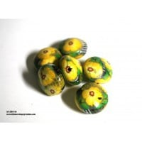 Yellow Flower Lentil Beads, Beads, Handmade, Polymer, Jewelry Making Supplies, Bead Supplies - Blue Morning Expressions