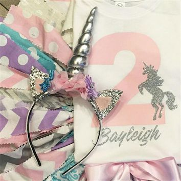 Baby Girl's Silver Unicorn Head Band