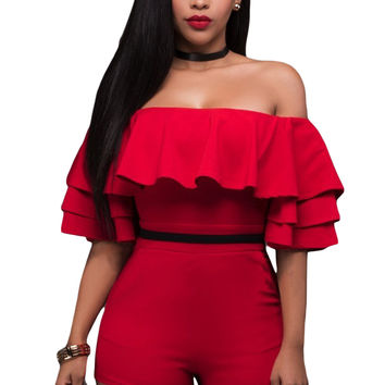 Red Ruffle Off Shoulder Party Romper MAVERLLY