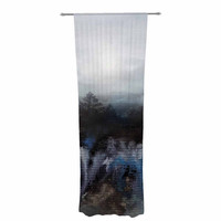 "Viviana Gonzalez ""Calling The Sun III"" Blue Black Decorative Sheer Curtain"