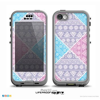 The Squared Pink & Blue Textile Patterns Skin for the iPhone 5c nüüd LifeProof Case