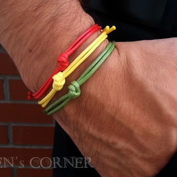 3 pcs Set of Men's Bracelets Green Yellow Red Waxed Cord Adjustable Bracelet for Men Gift for Him Unisex Rasta Reggae Colors