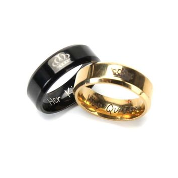 2018 Fashion Her King And His Queen Crown Ring For Women Men Black/Gold Color Couple Wedding Ring Promise Jewelry