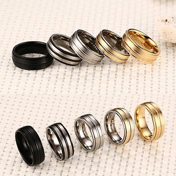 8mm Men Ring Titanium Carbide Men's Jewelry