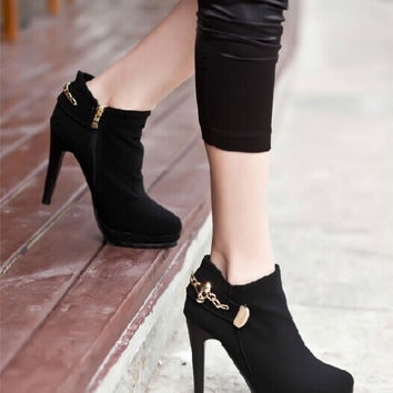 Fashion Sexy High-Heeled Metal Buckle Ankle Boots