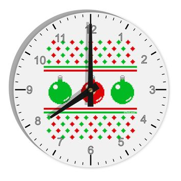 """TooLoud Ugly Christmas Sweater Ornaments 8"""" Round Wall Clock with Numbers"""