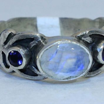 Sterling Silver Rainbow Moonstone Spiral ring