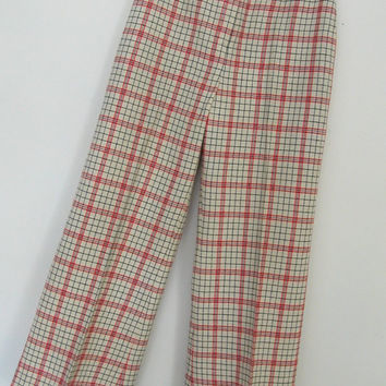 Mod 60s Pants  plaid wool capri pedal pushers by roguegirlvintage
