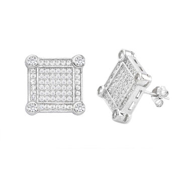 Sterling Silver Mens Stud Earrings Square Micropave Frame Cubic Zirconia 13mm