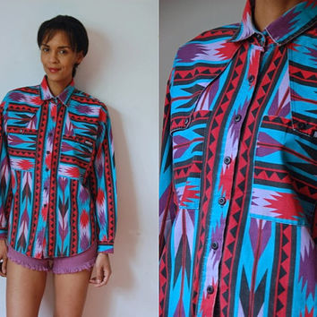 Vtg Southwest Tribal Print Turquoise Red Purple Button Up LS Shirt