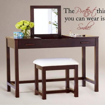 The Prettiest thing you can wear-Large Vinyl Wall Decal, Vinyl Wall Art, Vinyl Wall Decals-Wall Words-Wall Lettering