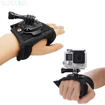 Go Pro Accessories 360 Degree Rotation Glove style Wrist Hand Band Mount Strap For GoPro Hero 4 Hero 4 Session 3+ 3 2 Xiaoyi cam
