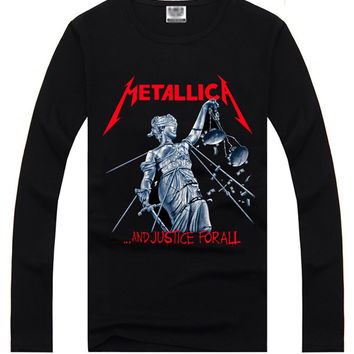 Black Hipster 3D METALLICA Print Long Sleeve T-Shirt