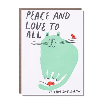 Peace and Love Cat Christmas Card
