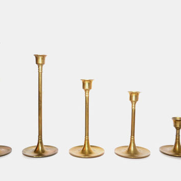 Vintage Brass Candlesticks Danish Modern Candle Holders Set of 5 Graduated Brass Candlesticks Wedding Candlesticks Minimalist Candlesticks