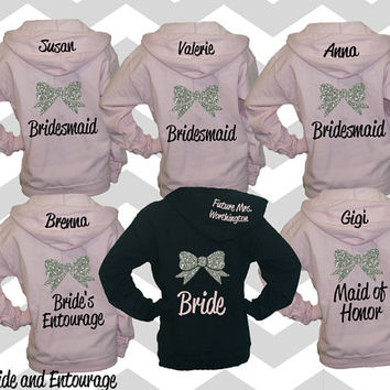 5 Bridesmaid Sweatshirt Hoodie Jackets S-3XL UNISEX sizes. Bow Bachelorette sweatshirts. Bridal party hoodies. wedding hoodies.