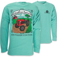Southern Couture Comfort Color Southern Raised Tractor Long Sleeves T Shirt